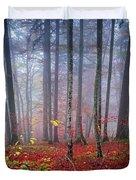 Fall Forest In Fog Duvet Cover