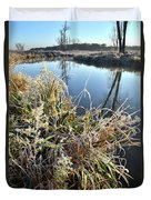 Fall Frost On Grasses Along Nippersink Creek Duvet Cover