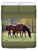 Horses Fall Grazing Duvet Cover