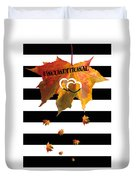 Fall Leaf Love Typography On Black And White Stripes Duvet Cover