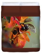 Fall Leaves And Berries Duvet Cover