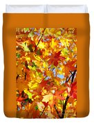 Fall Leaves Background Duvet Cover