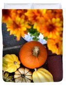 Fall Mums And Pumpkins Duvet Cover
