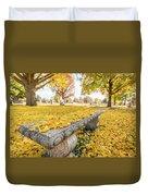 Fall Park Bench Duvet Cover