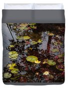 Fall Pond Reflections - A Story Of Waterlilies And Japanese Maple Trees - Take One Duvet Cover