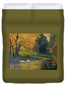 Fall Pond With Swans Duvet Cover