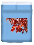 Fall Red Orange Leaves Blue Sky Baslee Troutman Duvet Cover