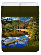 Fall Reflections On Cary Lake Duvet Cover