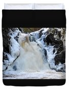 Fall River With Icicles Duvet Cover