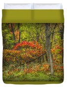 Fall Sumac Trees With Red Leaves In A Michigan Forest During Autumn Duvet Cover