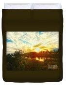 Fall Sunset At Lake Murray San Diego Duvet Cover