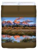 Fall Teton Tip Reflections Duvet Cover