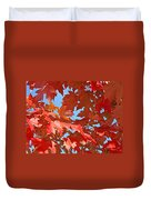 Fall Tree Leaves Red Orange Autumn Leaves Blue Sky Duvet Cover