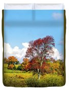 Fall Trees In Country Field Duvet Cover
