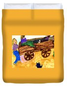 Fall Wagon Ride Duvet Cover