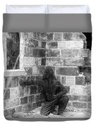 Fallen Airman Black And White Duvet Cover