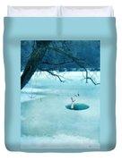 Fallen Through The Ice Duvet Cover by Jill Battaglia