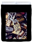 Falling In Love To The Beat Of The Music, Love Lock Duvet Cover