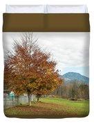 Falling Leaves In Silo Park Duvet Cover