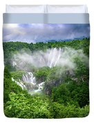 Falls Through The Fog - Plitvice Lakes National Park Croatia Duvet Cover