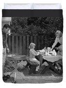 Family Bbq, C.1960s Duvet Cover