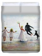 Family Beach Wedding Duvet Cover