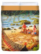 Family Day At Jobos Beach Duvet Cover by Milagros Palmieri