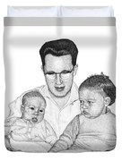 Family In Pointillism Duvet Cover