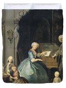 Family Group Near A Harpsichord, 1739 Duvet Cover