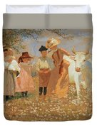 Family Group With Cow Duvet Cover