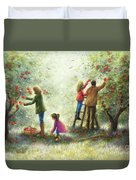 Family Picking Apples Duvet Cover