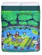 Family Picnic In Palau Duvet Cover