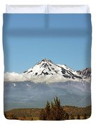 Family Portrait - Mount Shasta And Shastina Northern California Duvet Cover