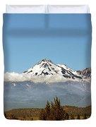 Family Portrait - Mount Shasta And Shastina Northern California Duvet Cover