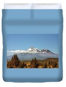 Family Portrait - Mount Shasta And Shastina Northern California Duvet Cover by Christine Till