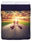 Family Walk On Long Straight Road Towards Sunset Sun Duvet Cover
