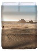 Family Walking On Sand Towards Ocean Duvet Cover