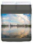 Famous Binnenalster In Hamburg Downtown At Sunset Duvet Cover