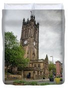 Famous Cathedral Of Manchester City In  Uk Duvet Cover