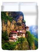 Famous Tigers Nest Monastery Of Bhutan 11 Duvet Cover