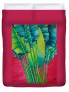 Fan Palm With Pink Duvet Cover