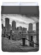 Fan Pier Boston Harbor Bw Duvet Cover