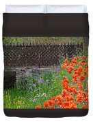 Fancy Foot Bridge And Poppies Duvet Cover by Stephanie Calhoun