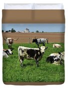 Fantastic Farm On A Spring Day With Cows Duvet Cover