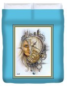 Fantasy Art - Time Encaptulata For A Woman's Face, Clock, Gears And More. L A S With Ornate Frame. Duvet Cover