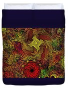 Fantasy Flowers Woodcut Duvet Cover
