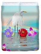 Fantasy Stork-flowers-rainbow On Ocean Duvet Cover