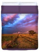 Far And Away - Open Prairie Under Colorful Sky In Oklahoma Panhandle Duvet Cover