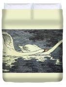 Farbiger Holzschnitt Zwei Schw Ne 1902 Duvet Cover