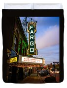 Fargo Theater And Downtown Along Broadway Drive Duvet Cover